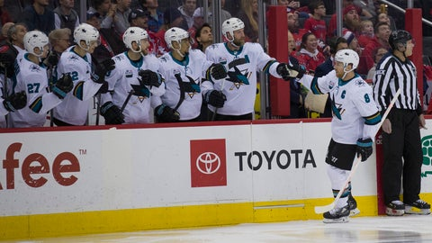 <p>               San Jose Sharks center Joe Pavelski (8) celebrates his goal with his teammates in the first period of an NHL hockey game Washington Capitals, Tuesday, Jan. 22, 2019, in Washington. (AP Photo/Alex Brandon)             </p>