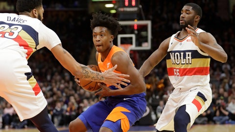 <p>               Cleveland Cavaliers' Collin Sexton, center, drives past New Orleans Pelicans' Anthony Davis, left, and E'Twaun Moore in the first half of an NBA basketball game, Saturday, Jan. 5, 2019, in Cleveland. (AP Photo/Tony Dejak)             </p>