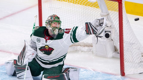 <p>               Minnesota Wild goaltender Devan Dubnyk (40) makes a save during second-period NHL hockey game action against the Montreal Canadiens, Monday, Jan. 7, 2019, in Montreal. (Ryan Remiorz/The Canadian Press via AP)             </p>