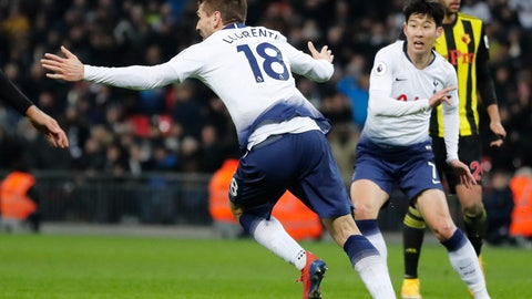 <p>               Tottenham's Fernando Llorente celebrates after scoring his side's second goal during the English Premier League soccer match between Tottenham Hotspur and Watford at Wembley Stadium in London, Wednesday, Jan. 30, 2019.(AP Photo/Frank Augstein)             </p>