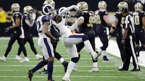 <p>               Los Angeles Rams strong safety John Johnson (43) and team mates celebrate during overtime of the NFL football NFC championship game against the New Orleans Saints, Sunday, Jan. 20, 2019, in New Orleans. (AP Photo/David J. Phillip)             </p>