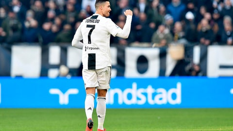 <p>               Juventus's Cristiano Ronaldo celebrates after scoring his side's first goal during the Serie A soccer match between Juventus and Sampdoria in Turin, Italy,  Saturday, Dec. 29, 2018. (Alessandro Di Marco/ANSA via AP)             </p>