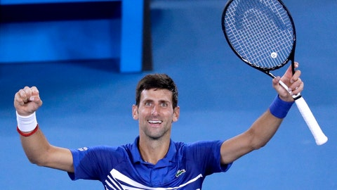 <p>               Serbia's Novak Djokovic celebrates after defeating France's Lucas Pouille in their semifinal at the Australian Open tennis championships in Melbourne, Australia, Friday, Jan. 25, 2019. (AP Photo/Kin Cheung)             </p>