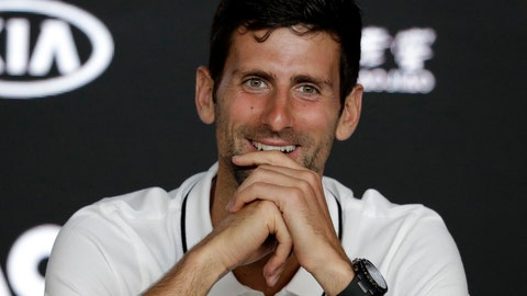 <p>               Serbia's Novak Djokovic smiles during a press conference at the Australian Open tennis championships in Melbourne, Australia, Sunday, Jan. 13, 2019. (AP Photo/Aaron Favila)             </p>