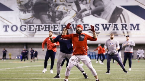 <p>               New England Patriots wide receiver Julian Edelman warms up during NFL football practice, Thursday, Jan. 31, 2019, in Atlanta, as the team prepares for Super Bowl 53 against the Los Angeles Rams. (AP Photo/Matt Rourke)             </p>