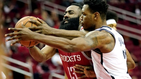 <p>               Houston Rockets' James Harden (13) is fouled by Brooklyn Nets' Treveon Graham during the first half of an NBA basketball game Wednesday, Jan. 16, 2019, in Houston. (AP Photo/David J. Phillip)             </p>