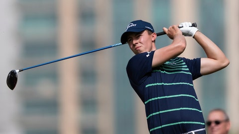 <p>               Matthew Fitzpatrick of England tees off on the 5th hole during round one of the Dubai Desert Classic golf tournament, in Dubai, United Arab Emirates, Thursday, Jan. 24, 2019. (AP Photo/Neville Hopwood)             </p>