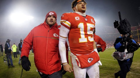 <p>               Kansas City Chiefs quarterback Patrick Mahomes (15) walks off the field after an NFL divisional football playoff game against the Indianapolis Colts Saturday, Jan. 12, 2019, in Kansas City, Mo. The Chiefs won 31-13. (AP Photo/Charlie Riedel)             </p>