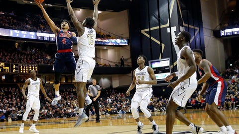 <p>               Mississippi guard Breein Tyree (4) shoots against Vanderbilt forward Clevon Brown (15) in the first half of an NCAA college basketball game Saturday, Jan. 5, 2019, in Nashville, Tenn. (AP Photo/Mark Humphrey)             </p>