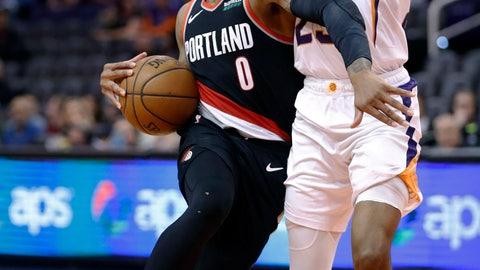 <p>               Portland Trail Blazers guard Damian Lillard (0) drives around Phoenix Suns forward Mikal Bridges during the second half of an NBA basketball game Thursday, Jan. 24, 2019, in Phoenix. (AP Photo/Matt York)             </p>