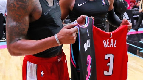 <p>               Miami Heat guard Dwyane Wade, right, and Washington Wizards guard Bradley Beal exchange jerseys after an NBA basketball gam  Friday, Jan. 4, 2019, in Miami. The Heat defeated the Wizards 115-109. (AP Photo/Wilfredo Lee)             </p>