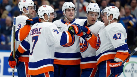 <p>               New York Islanders' Jordan Eberle (7) is congratulated by teammate Leo Komarov (47) after scoring during the third period of an NHL hockey game against the St. Louis Blues, Saturday, Jan. 5, 2019, in St. Louis. (AP Photo/Jeff Roberson)             </p>