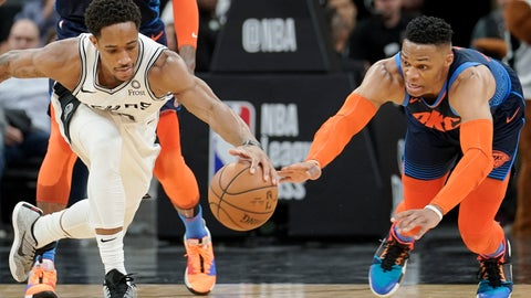 <p>               San Antonio Spurs' DeMar DeRozan, left, and Oklahoma City Thunder's Russell Westbrook chase the ball during the first half of an NBA basketball game, Thursday, Jan. 10, 2019, in San Antonio. (AP Photo/Darren Abate)             </p>