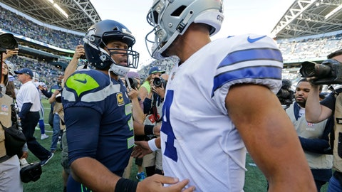 <p>               FILE - In this Sept. 23, 2018, file photo, Seattle Seahawks quarterback Russell Wilson, left, greets Dallas Cowboys quarterback Dak Prescott, right, following an NFL football game in Seattle. Russell Wilson won a playoff game with Seattle as a rookie, a Super Bowl in his second season and another NFC championship the third time around. The best Dak Prescott can hope for with the Dallas Cowboys is to join Wilson on that list of Super Bowl winners in his third year, a quest that will start with the first postseason meeting of quarterbacks with quite a bit in common, other than postseason pedigree.(AP Photo/John Froschauer, File)             </p>
