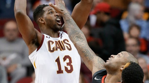 <p>               FILE - In this Jan. 11, 2019, file photo, Cleveland Cavaliers center Tristan Thompson (13) shoots over Houston Rockets forward PJ Tucker, center, during the first half of an NBA basketball game, in Houston. Thompson will miss two more weeks with a sprained left foot, yet another blow to the NBA's worst team. (AP Photo/Eric Christian Smith, File)             </p>