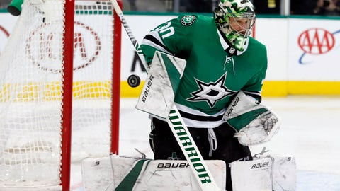 <p>               Dallas Stars goaltender Ben Bishop (30) makes a save on a shot by the St. Louis Blues during the second period of an NHL hockey game in Dallas, Saturday, Jan. 12, 2019. (AP Photo/Michael Ainsworth)             </p>