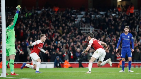 <p>               Arsenal's Laurent Koscielny, second right celebrates after scoring his sides2nd goal during the English Premier League soccer match between Arsenal and Chelsea at the Emirates stadium in London, Saturday, Jan. 19, 2019. (AP Photo/Frank Augstein)             </p>