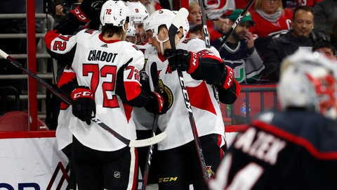 <p>               The Ottawa Senators celebrate a goal by Bobby Ryan during the second period of an NHL hockey game against the Carolina Hurricanes, Friday, Jan. 18, 2019, in Raleigh, N.C. (AP Photo/Karl B DeBlaker)             </p>