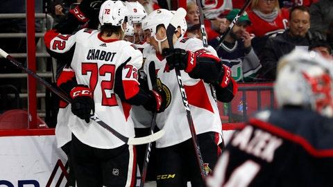 <p>               The Ottawa Senators celebrate a goal by Bobby Ryan during the second period of an NHL hockey game against the Carolina Hurricanes, Friday, Jan. 18, 2019, in Raleigh, N.C. (AP Photo/Karl B DeBlaker)             </p>
