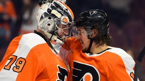 <p>               Philadelphia Flyers goaltender Carter Hart, left, is congratulated by Travis Konecny after a victory against the Dallas Stars on Thursday, Jan. 10, 2019, in Philadelphia. The Flyers won 2-1. (AP Photo/Derik Hamilton)             </p>