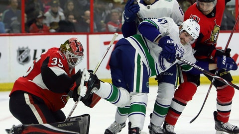 <p>               Vancouver Canucks' Sven Baertschi (47) screens Ottawa Senators goaltender Marcus Hogberg (35) during the second period of an NHL hockey game Wednesday, Jan. 2, 2019, in Ottawa, Ontario. (Fred Chartrand/The Canadian Press via AP)             </p>