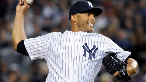 <p>               File- This Sept 26, 2013, file photo shows New York Yankees pitcher Mariano Rivera, delivers the ball to the Tampa Bay Rays during the eighth inning of a baseball game in New York. Rivera has become baseball's first unanimous Hall of Fame selection, elected along with Roy Halladay, Edgar Martinez and Mike Mussina. Rivera received all 425 votes in balloting by the Baseball Writers' Association of America. The quartet will be enshrined in Cooperstown along with Today's Game Era Committee selections Harold Baines and Lee Smith on July 21. (AP Photo/Bill Kostroun, File)             </p>