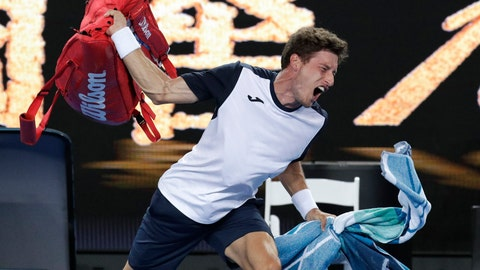 <p>               Spain's Pablo Carreno Busta throws his bag in frustration after losing his fourth round match to Japan's Kei Nishikori at the Australian Open tennis championships in Melbourne, Australia, Monday, Jan. 21, 2019. (AP Photo/Aaron Favila)             </p>
