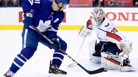 <p>               Washington Capitals goaltender Braden Holtby (70) stops Toronto Maple Leafs center John Tavares (91) during the second period of an NHL hockey game, Wednesday, Jan. 23, 2019, in Toronto. (Nathan Denette/The Canadian Press via AP)             </p>
