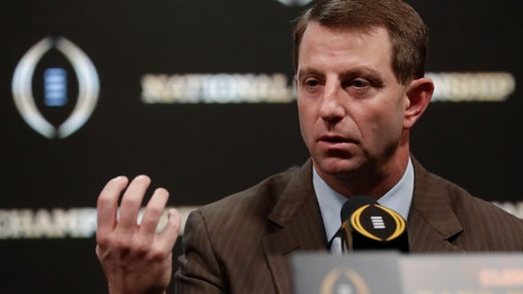 <p>               Clemson head coach Dabo Swinney answers questions at a news conference for the NCAA college football playoff championship game Sunday, Jan. 6, 2019, in Santa Clara, Calif. (AP Photo/David J. Phillip)             </p>