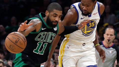 <p>               Boston Celtics guard Kyrie Irving (11) dribbles against Golden State Warriors forward Kevin Durant (35) in the first quarter of an NBA basketball game, Saturday, Jan. 26, 2019, in Boston. (AP Photo/Elise Amendola)             </p>