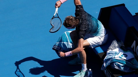 <p>               Germany's Alexander Zverev smashes his racket in frustration during his fourth round match against Canada's Milos Raonic at the Australian Open tennis championships in Melbourne, Australia, Monday, Jan. 21, 2019. (AP Photo/Kin Cheung)             </p>