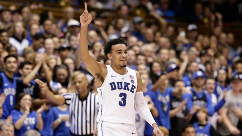 <p>               FILE - In this Dec. 1, 2018, file photo, Duke's Tre Jones (3) reacts after a basket against Stetson during the second half of an NCAA college basketball game in Durham, N.C. Duke hopes it hasn't lost any of the momentum that carried it back to No. 1. The Blue Devils' 15-day layoff ends this weekend with a visit from Clemson in the ACC opener.  (AP Photo/Gerry Broome, File)             </p>