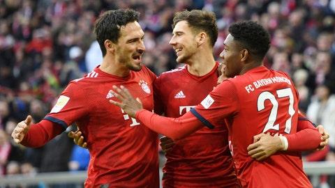 <p>               Munich players celebrate their side's opening goal during a German Bundesliga soccer match between Bayern Munich and VfB Stuttgart in Munich, Germany, Sunday, Jan.27, 2019. (Tobias Hase/dpa via AP)             </p>