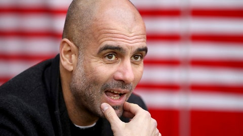 <p>               Manchester City manager Pep Guardiola looks out prior to the match against Southampton, during their English Premier League soccer match at St Mary's Stadium in Southampton, England, Sunday Dec. 30, 2018. (Adam Davy/PA via AP)             </p>