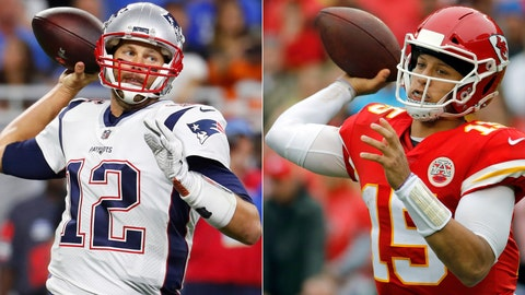 <p>               FILE - At left, in a Sept. 23, 2018, file photo, New England Patriots quarterback Tom Brady throws during the first half of an NFL football game against the Detroit Lions, in Detroit. At right, in an Oct. 7, 2018, file photo, Kansas City Chiefs quarterback Patrick Mahomes (15) throws a pass during the first half of an NFL football game against the Jacksonville Jaguars, in Kansas City, Mo. One is the sixth-round pick that became arguably the greatest quarterback in NFL history. The other is the first-round choice in his first full season as starter. Yet there are similarities between the Patriots' Tom Brady and the Chiefs' Patrick Mahomes, and some day their resumes may be similar, too. (AP Photo/File)             </p>