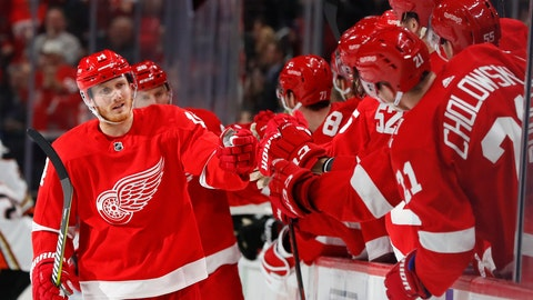 <p>               Detroit Red Wings' Gustav Nyquist (14) celebrates his goal against the Anaheim Ducks in the third period of an NHL hockey game, Tuesday, Jan. 15, 2019, in Detroit. (AP Photo/Paul Sancya)             </p>