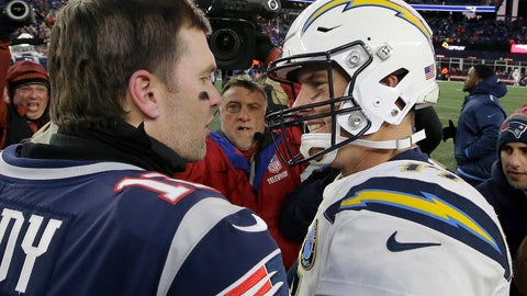 <p>               New England Patriots quarterback Tom Brady, left, and Los Angeles Chargers quarterback Philip Rivers speak at midfield after an NFL divisional playoff football game, Sunday, Jan. 13, 2019, in Foxborough, Mass. (AP Photo/Steven Senne)             </p>