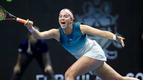 <p>               Jelena Ostapenko of Latvia returns the ball to Kristina Mladenovic of France during the St. Petersburg Ladies Trophy-2019 tennis tournament match in St.Petersburg, Russia, Tuesday, Jan. 29, 2019. (AP Photo/Dmitri Lovetsky)             </p>