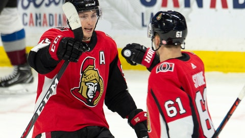 <p>               Ottawa Senators center Matt Duchene, left, celebrates his goal with teammate Mark Stone during the third period of an NHL hockey game against the Colorado Avalanche, Wednesday, Jan. 16, 2019 in Ottawa, Ontario. (Adrian Wyld/The Canadian Press via AP)             </p>