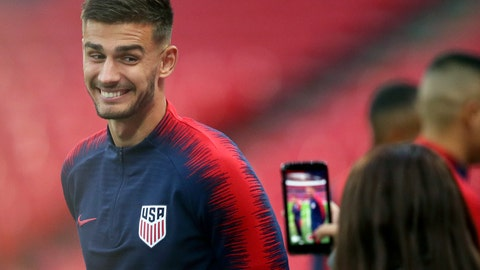 <p>               FILE - In this Nov. 14, 2018, file photo, United States national soccer team player Matt Miazga has his picture taken during a training session at Wembley Stadium in London. Miazga has been recalled by Chelsea from his unsuccessful loan to Nantes in France's Ligue 1 and loaned for the rest of the season to relegation-threatened Reading in England's second-tier League Championship. (AP Photo/Tim Ireland, File)             </p>