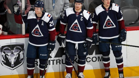 <p>               From left, Colorado Avalanche center Nathan MacKinnon, left wing Gabriel Landeskog and right wing Mikko Rantanen, who are headed to play in the All-Star Game, are introduced after a video tribute in the first period of an NHL hockey game against the Minnesota Wild, Wednesday, Jan. 23, 2019, in Denver. (AP Photo/David Zalubowski)             </p>