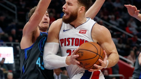 <p>               Detroit Pistons forward Blake Griffin (23) is defended by Dallas Mavericks guard Ryan Broekhoff (45) during the first half of an NBA basketball game Thursday, Jan. 31, 2019, in Detroit. (AP Photo/Carlos Osorio)             </p>