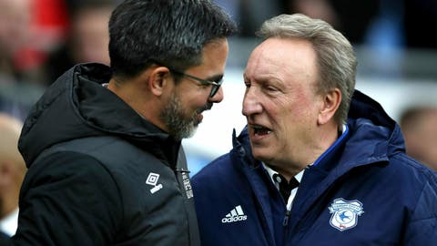 <p>               Huddersfield Town manager David Wagner, left, greets Cardiff City manager Neil Warnock during the English Premier League soccer match between Cardiff City and Huddersfield Town at the Cardiff City Stadium, Cardiff, Wales. Saturday, Jan. 12, 2019. (Nick Potts/PA via AP)             </p>