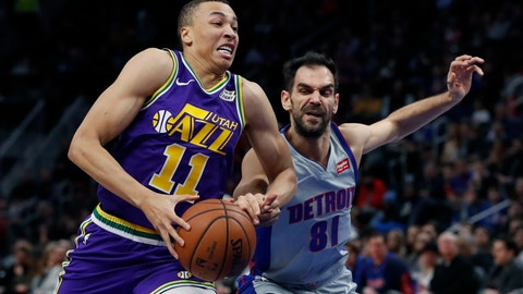 <p>               Detroit Pistons guard Jose Calderon (81) reaches in on Utah Jazz guard Dante Exum (11) during the first half of an NBA basketball game, Saturday, Jan. 5, 2019, in Detroit. (AP Photo/Carlos Osorio)             </p>