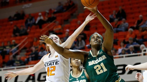 <p>               Oklahoma State forward Vivian Gray (12) and Baylor center Kalani Brown (21) reach for a rebound in the first half of an NCAA college basketball game in Stillwater, Okla., Wednesday, Jan. 30, 2019. (AP Photo/Sue Ogrocki)             </p>