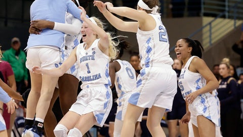 <p>               North Carolina players celebrate their 78-73 win over Notre Dame in an NCAA college basketball game in Chapel Hill, N.C., Sunday, Jan. 27, 2019. (AP Photo/Gerry Broome)             </p>
