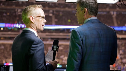 "<p>               FILE - This Oct. 11, 2018, file photo shows Troy Aikman, right, and Joe Buck working before an NFL football game between the New York Giants and the Philadelphia Eagles  in East Rutherford, N.J. ""I remember opening weekend when I got home I had a couple college buddies that were raving about the pregame show and how great and fun it was with everyone,"" said Aikman, who was Cowboys quarterback in 1994 before joining the network seven years later. ""It was refreshing, new and unique, and that set the tone for the network.""(AP Photo/Frank Franklin II, File)             </p>"