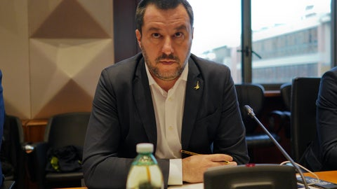 <p>               Italian Interior Minister and deputy Premier Matteo Salvini attends a meeting on violence during soccer matches, in Rome, Monday, Jan. 7, 2019. The meeting was scheduled  following the death of a Inter Milan fan during clashes with Napoli supporters outside San Siro Stadium ahead of a Serie A game on Wednesday, Dec. 26, 2018. (AP Photo/Andrew Medichini)             </p>