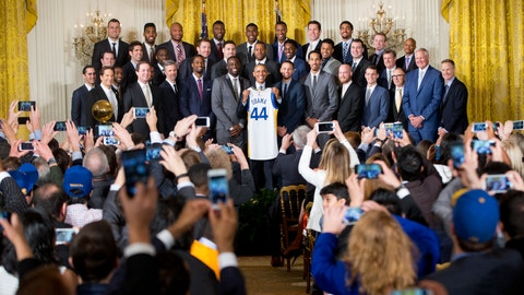 <p>               FILE - In this Feb. 4, 2016, file photo, President Barack Obama holds up Golden State Warrior basketball jersey given to him by team members during a ceremony in the East Room of the White House in Washington where he honored the 2015 NBA Champions. The Warriors had a meeting with former President Obama on Thursday, Jan. 24, 2019, at Obama's office in Washington before the defending NBA champs defeated the Washington Wizards. (AP Photo/Pablo Martinez Monsivais, File)             </p>