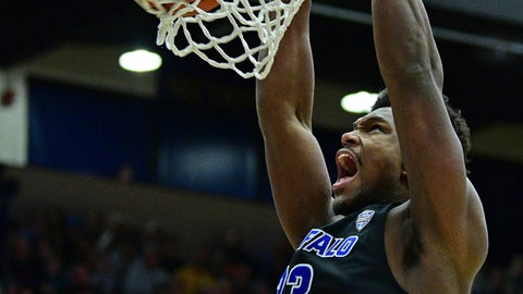 <p>               Buffalo forward Nick Perkins dunks during the first half of an NCAA college basketball game against Kent State, Friday, Jan. 25, 2019, in Kent, Ohio. (AP Photo/David Dermer)             </p>